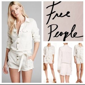 *NWOT*FREE PEOPLE Linen Pinstripe Jumpsuit